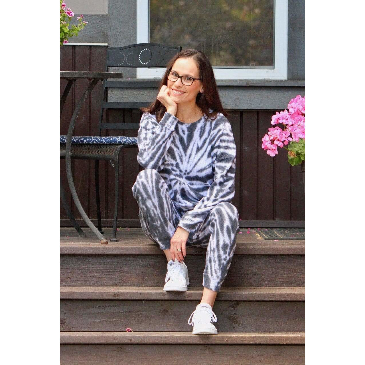 RD SPIRAL BLACK / XS Tie Dye Oversize KangarooTop Loungewear Set + more colours