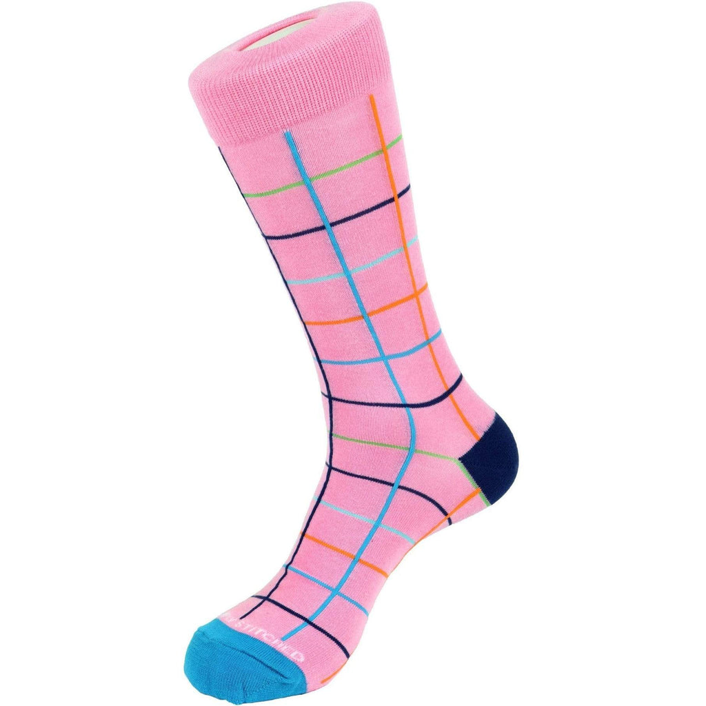 Unsimply Stitched PINK / N/S Unsimply Stitched Coloured Grid Sock