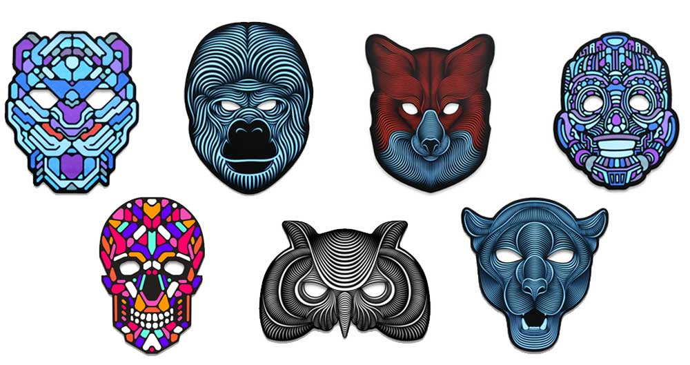 Image of the seven different LED Mask designs now sold at The Rave Cave
