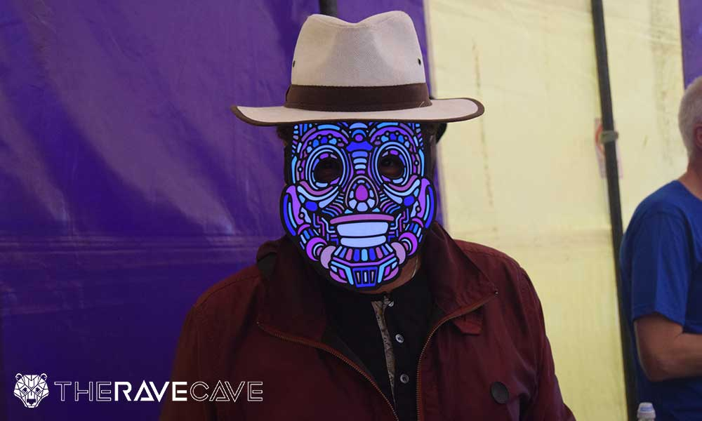 Craig Charles from The Gadget Show wearing Outline Montreal LED Mask