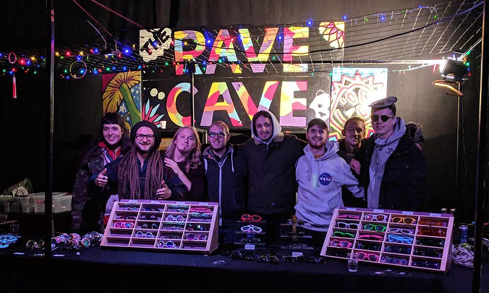 The Rave Cave Crew at Westfest 2018 standing in the stall