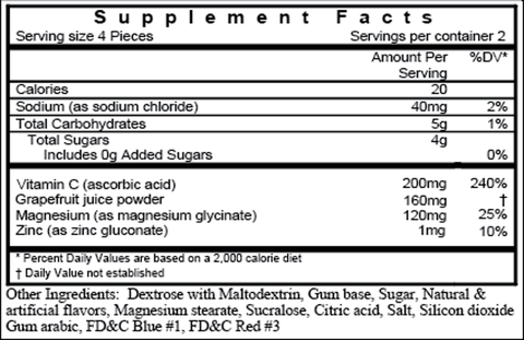 Cosmic Mojito Gum supplement facts