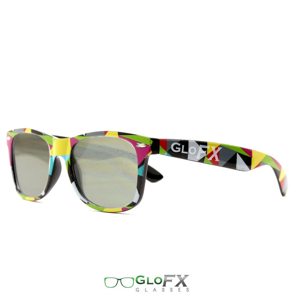 GloFX Geometric Diffraction Glasses - Emerald tinted