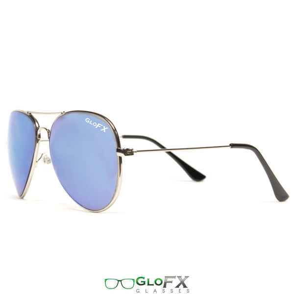 GloFX Metal Pilot Aviator Style Diffraction Glasses - Blue Mirror