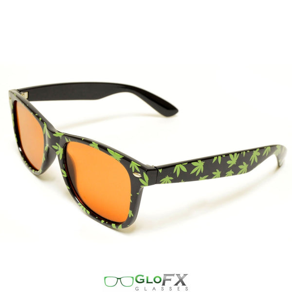 GloFX Pot Leaf Diffraction Glasses - Amber tinted