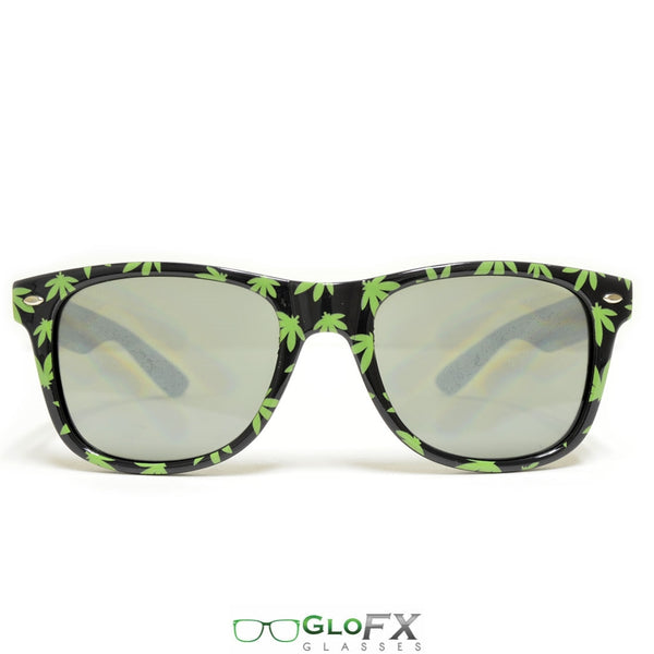GloFX Pot Leaf Diffraction Glasses - Emerald tinted