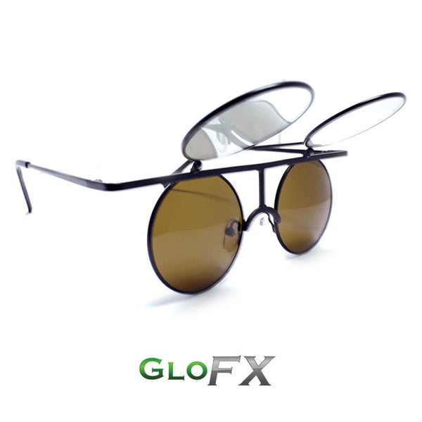 GloFX Vintage Flip Round Diffraction Glasses - Black - Gold mirror