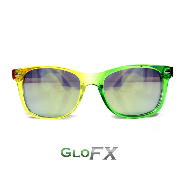 GloFX Transparent Rainbow Diffraction Glasses - Gold Mirror
