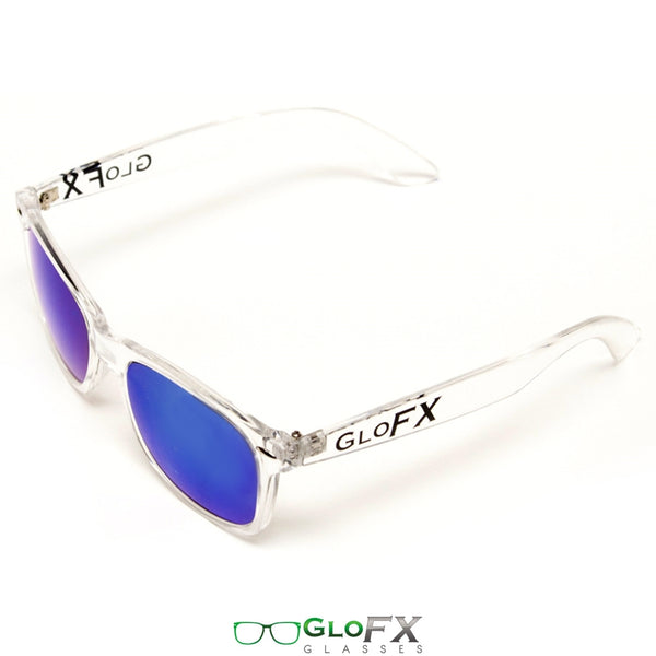 GloFX Diffraction Glasses – Clear – Blue Mirror