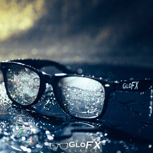 GloFX Diffraction Glasses – Black – Silver Mirror