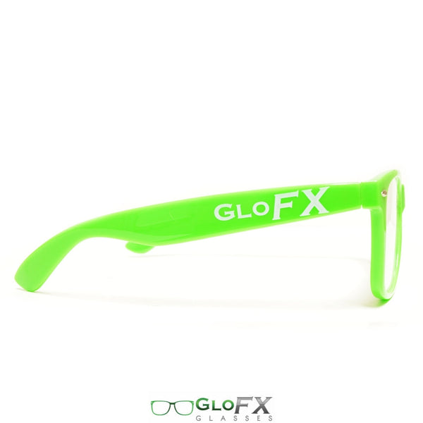 GloFX Ultimate Extreme Diffraction Glasses - Green - Clear