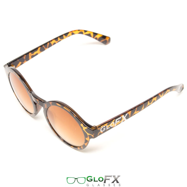 GloFX Round Tortoise Shell Diffraction Glasses - Amber Tinted