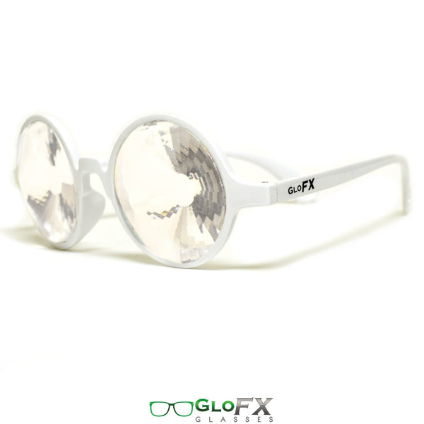 GloFX Kaleidoscope Glasses - White - Clear Wormhole