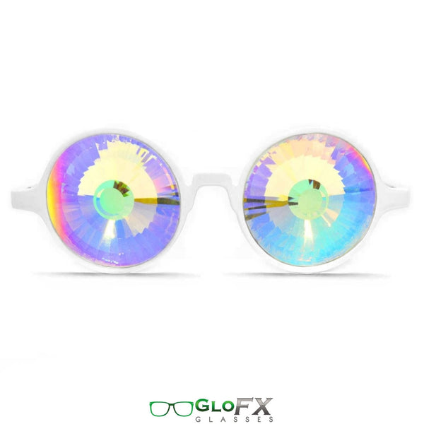GloFX Kaleidoscope Glasses - White - Rainbow Wormhole