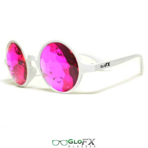 GloFX Kaleidoscope Glasses - White - Magenta