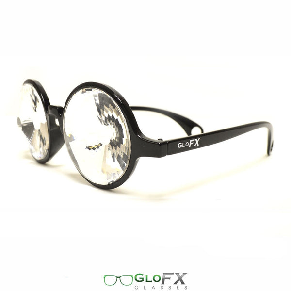 GloFX Kaleidoscope Glasses - Black - Clear Wormhole