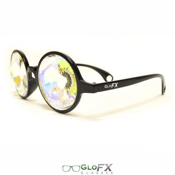 GloFX Kaleidoscope Glasses - Black - Rainbow Wormhole
