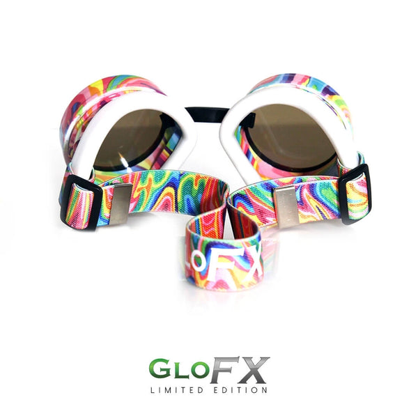 GloFX Diffraction Goggles - Kandi Swirl - Clear