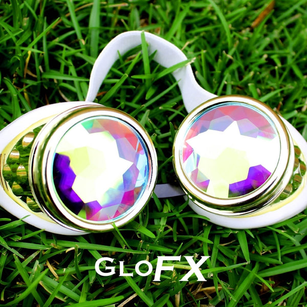 GloFX Kaleidoscope Goggles - Royal Gold - Rainbow Fractal