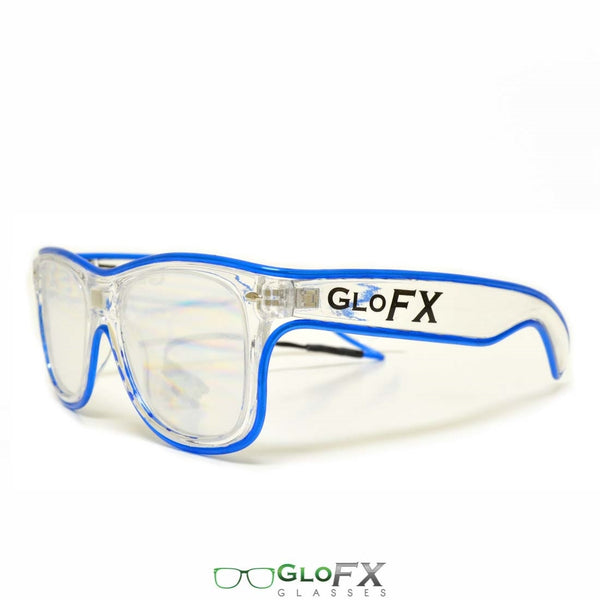 GloFX Ultimate Diffraction Glasses - Clear with Blue Luminescence