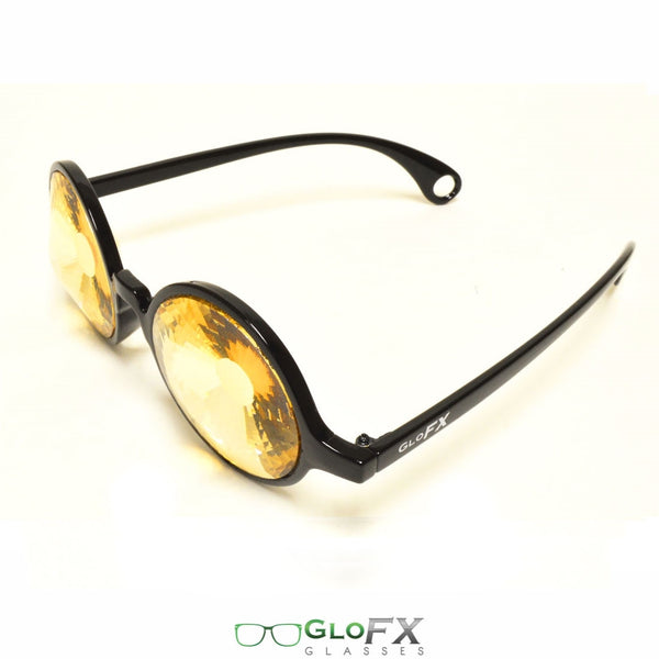 GloFX Kaleidoscope Glasses - Black - Gold Wormhole