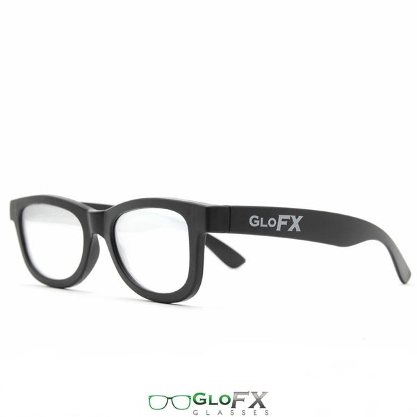 GloFX Standard Diffraction Glasses - Black - Clear - 10 Pack