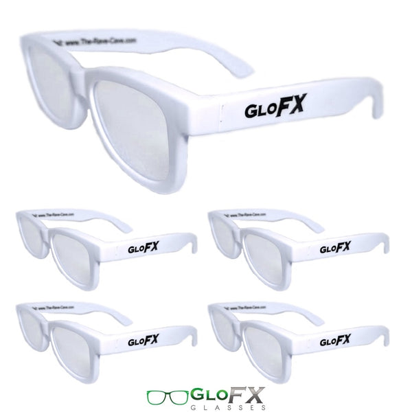 GloFX Standard Diffraction Glasses - White - Clear - 5 Pack
