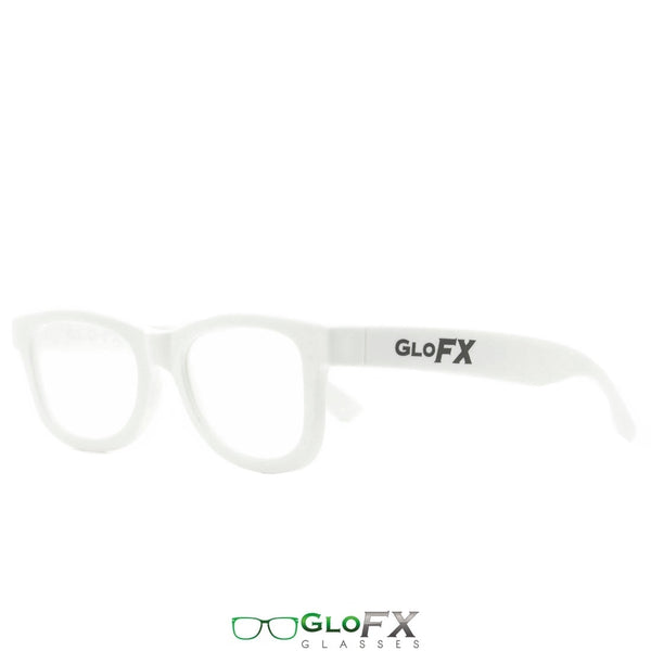 GloFX Standard Diffraction Glasses - White - Clear - 10 Pack