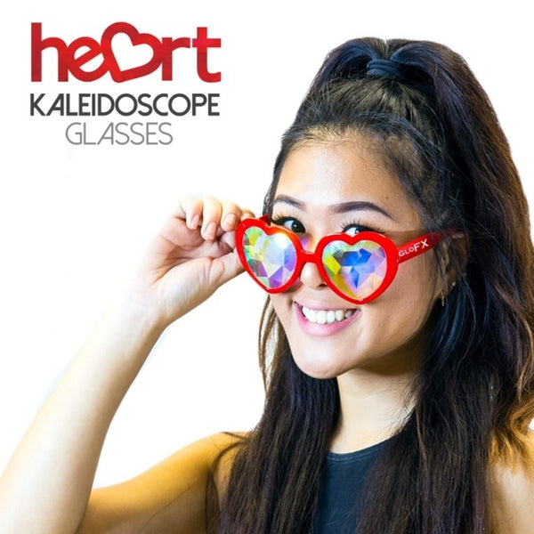 GloFX Heart Shaped Kaleidoscope Glasses - Red