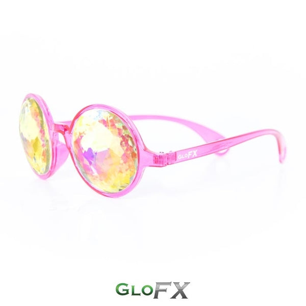 GloFX Kaleidoscope Glasses - Transparent Pink - Rainbow