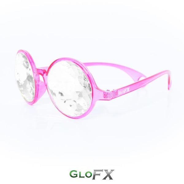 GloFX Kaleidoscope Glasses - Transparent Pink - Clear