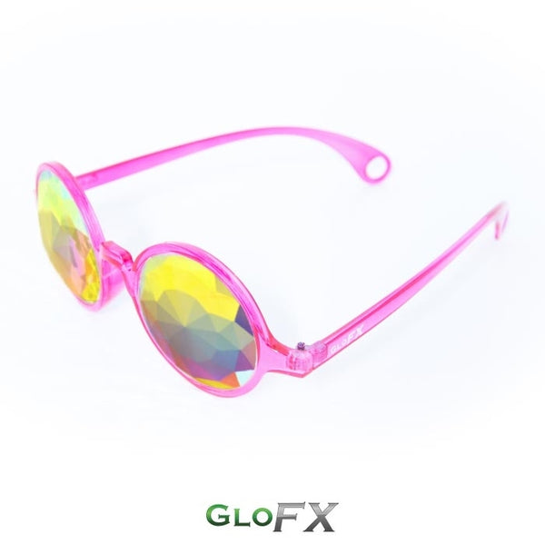 GloFX Kaleidoscope Glasses - Transparent Pink - Rainbow Fractal