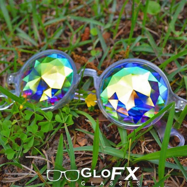 GloFX Kaleidoscope Glasses - Clear - Rainbow Fractal