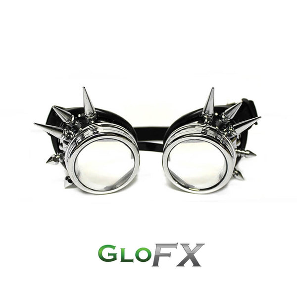 GloFX Diffraction Goggles - Chrome Spike - Clear