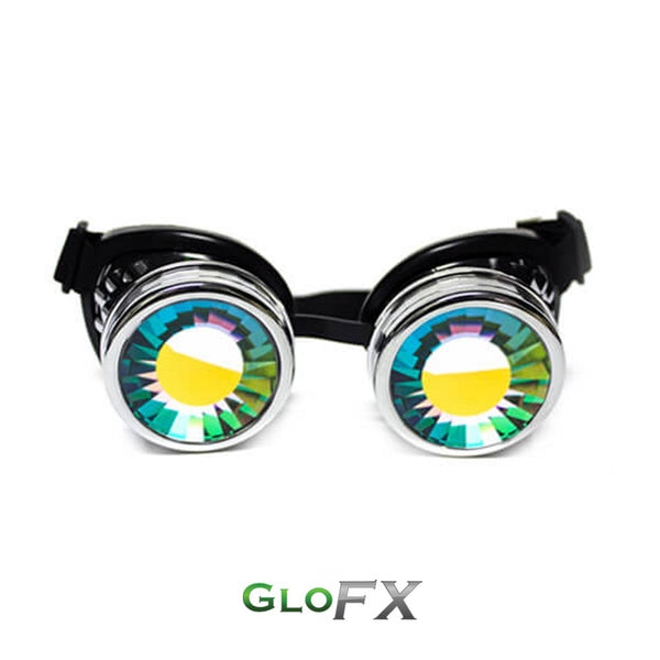 GloFX Kaleidoscope Goggles - Chrome - Rainbow Wormhole