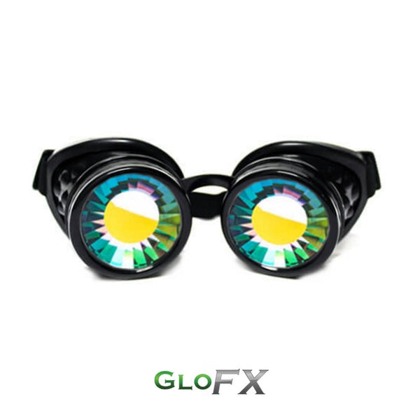GloFX Kaleidoscope Goggles - Black - Rainbow Wormhole
