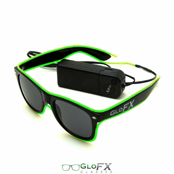 GloFX Black Sunglasses with Green Luminescence
