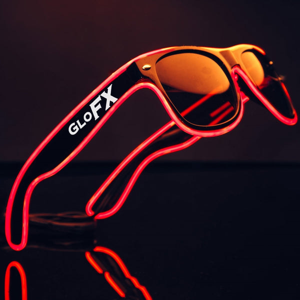 GloFX Black Sunglasses with Red Luminescence