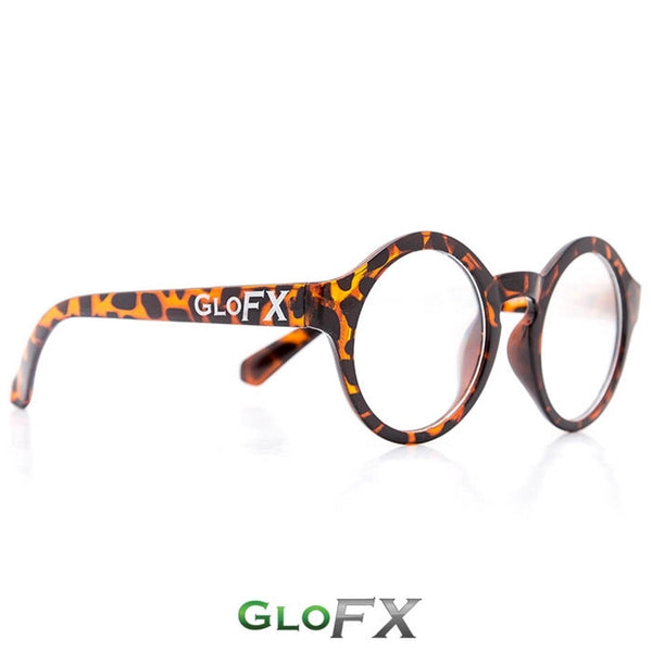 GloFX Round Tortoise Shell Diffraction Glasses - Clear
