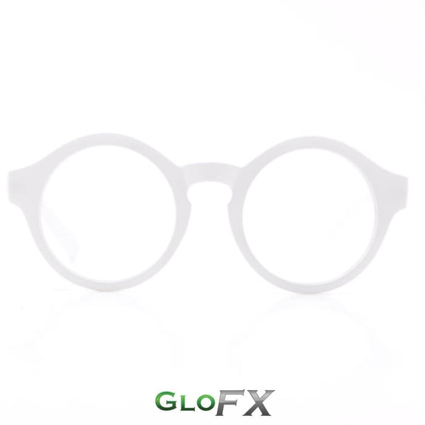 GloFX Round Diffraction Glasses - White - Clear