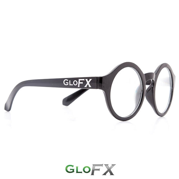 GloFX Round Diffraction Glasses - Black - Clear