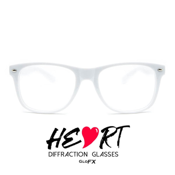 GloFX Heart Effect Diffraction Glasses – White