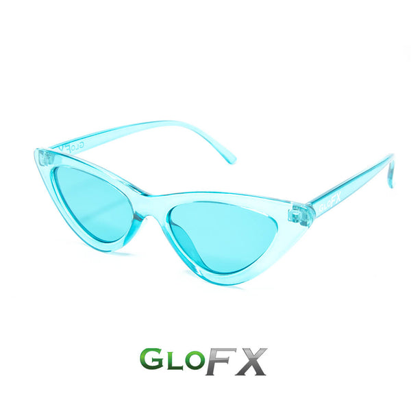 GloFX Cat Eye Colour Therapy Glasses - Aqua