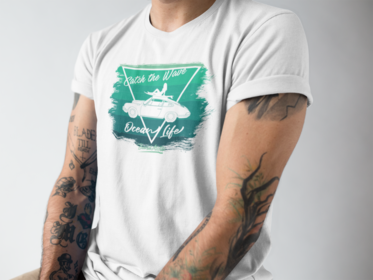 T-Shirt Catch the Wave 911 Surf Shades of Green / White - beardmotors