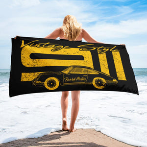 Beard Motors 911 Vintage Style Beach Towel black - Beard Motors