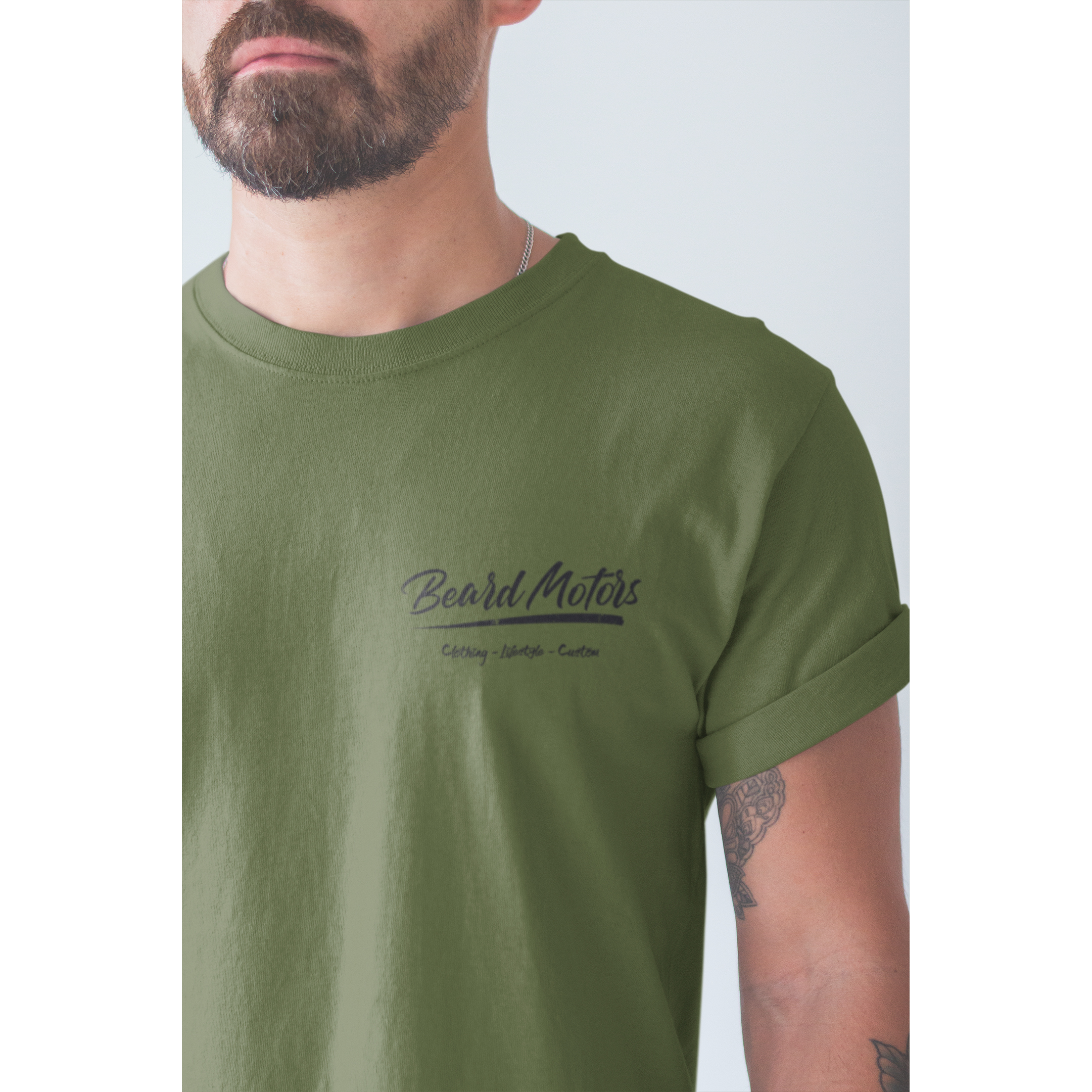 Beard Motors T-Shirt Logo Grunge embroided olive - Beard Motors
