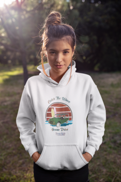 Beard Motors Catch the Wave Mehari Ocean Drive Hoodie White - beardmotors
