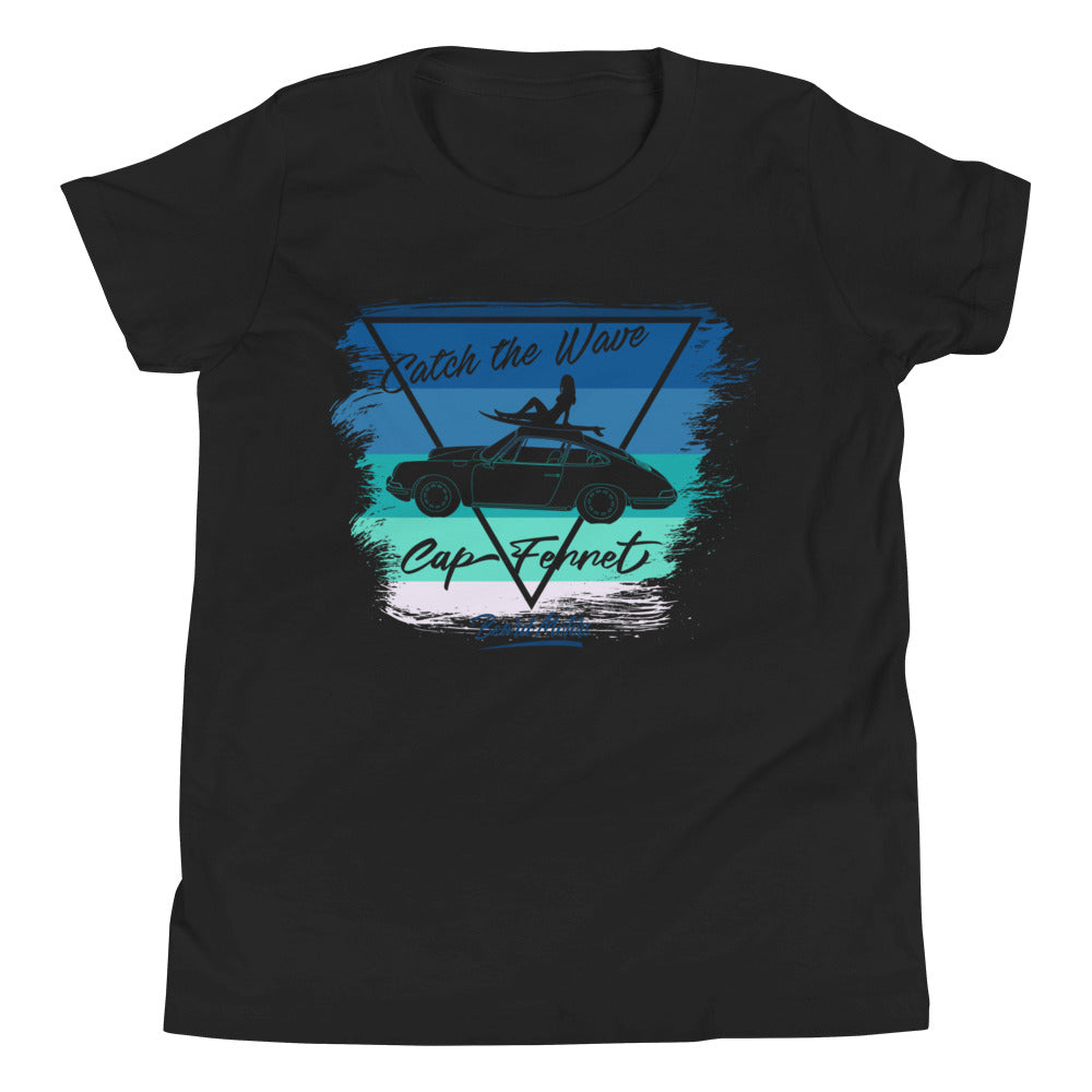 T-Shirt enfant black Youth shirt Catch the Wave Blue to Green 911 Surf - beardmotors