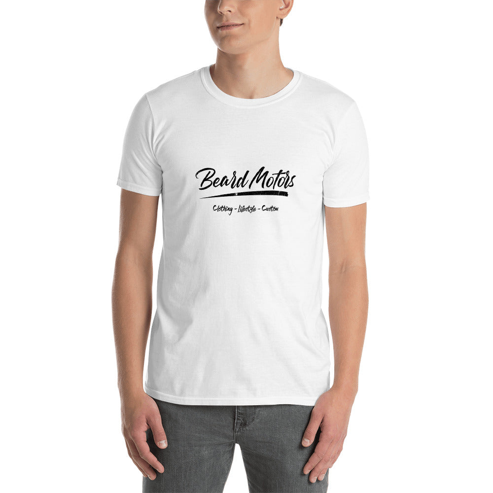 Beard Motors T-Shirt Logo Grunge white - Beard Motors