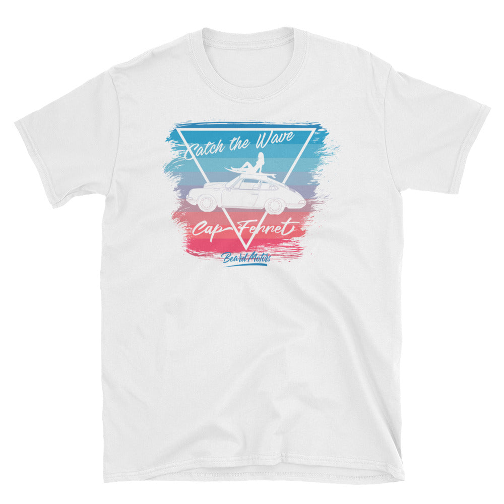 T-Shirt Catch the Wave 911 Surf Blue to Rubystone / White - beardmotors